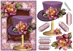 Purple Sunset Roses Hat Stand on Craftsuprint designed by Anne Lever - This lovely topper features a fabulous vintage style hat on a stand, adorned with pretty purple sunset roses, on the matching frame. It has decoupage, four greetings and a blank greetings tile. The greetings are best wishes, for you, with love and daughter. - Now available for download!