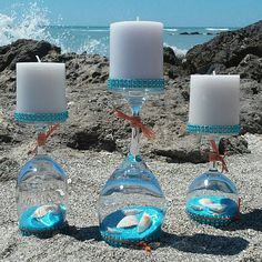 Wine glass candle holders with sand/shells. by Prettybeachything, holder diy Wine glass candle holders with sand/shells. by Prettybeachything, Wine Glass Crafts, Wine Bottle Crafts, Bottle Art, Wine Bottles, Crafts With Glass Bottles, Recycled Bottles, Seashell Crafts, Beach Crafts, Wine Glass Candle Holder