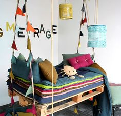 A swinging bed.