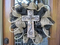 Texas Western Burlap Mesh Wreath Small cross