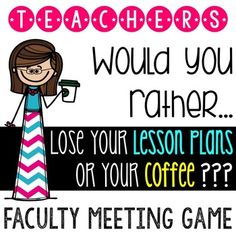 "End of year awards have been added to this growing bundle of faculty meeting fun!  Use these activites to ease stress and take a break from professional development.  Customize the awards or use the templates included.The ""Would You Rather"" game includes custom silly questions that only a teacher would understand."