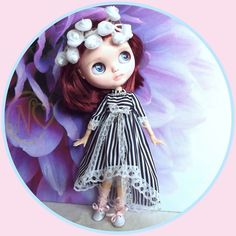 """Antique Victorian dress for your 12"""" Blythe doll* striped*"""