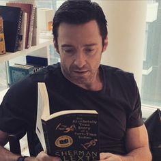 #HughJackman reading Sherman Alexie!   I love you, Hugh!