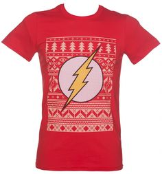 DC Comics Official The Flash Logo Fair Isle Red Christmas Jumper Sweatshirt