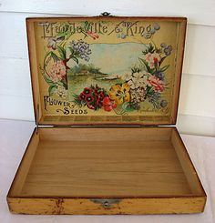 """An antique Victorian 1890's vintage Mandeville & King Superior Flower Seeds, Rochester, NY, advertising store counter top seed box, all original and in most excellent condition, this box is as right as they come not made up at a later time, overall box size is 12"""" x 8 3/4"""" x 2 3/4"""" with the inside 8"""" x 11"""""""