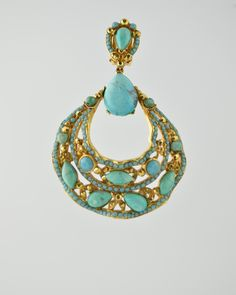 TURQUOISE JEWELED FILAGREE from Barrera.  24 Karat gold plated jeweled encrusted filagree hoop earring with natural turquoise stones and Austrian crystals in turquoise and gold color . Earring is clip on. Earring is 3 inches long and 2 inches at widest point