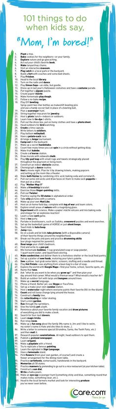 101 Things To Do When Kids Say I Am Bored kids parents children parenting…