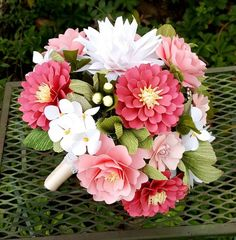 Paper Bouquet - Paper Flower Bouquet - Shabby Chic Bouquet - Shades of Pink and White - Bridal Bouquet - Wedding Bouquet - READY TO SHIP Paper flower bouquet ready to ship! This carefully hand sculpted paper bouquet measures 8 Pink Flower Bouquet, Bridal Bouquet Pink, Paper Bouquet, Diy Wedding Bouquet, Diy Bouquet, Paper Flower Bouquets, Chic Wedding, Origami Bouquet, Paper Flowers Wedding