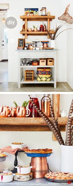 DIY Pie Bar: Turn an everyday buffet or console table into an impromptu dessert bar. First, ensure it's big enough to hold the plates, serveware and desserts. Display desserts in varying levels to make it easy for guests to serve themselves. Expand your bar vertically using wall shelving to offer a variety of seasonal beverages along with stylish serving drinkware, like copper Moscow mule cups. Finish the look with a cute chalkboard, and style with simple fall accents like feathers or birch.