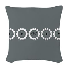 Custom Divine Retro Style Gray White Woven Throw Pillow, editable monogram and flowers - replace them with your own image(s)!