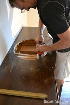 Converting Dresser to Bathroom Vanity bathroom vanity 035 - we will be doing this in our house. Already bought the furniture Dresser Vanity Bathroom, Vanity Sink, Antique Bathroom Vanities, Tuscan Bathroom, Closet Vanity, Antique Vanity, Vanity Decor, Diy Vanity, Furniture Projects