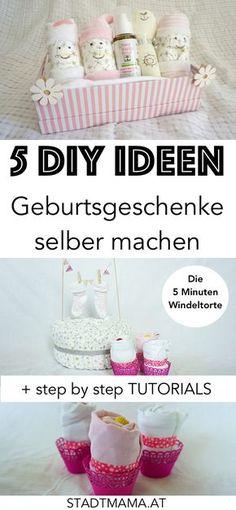 5 einfache DIY Ideen für GEburtsgeschenke oder für die Babyparty. Inklusve DIY Anleitung für die ruckzuck-Windeltorte, Windelwichtel, Body-Muffins usw.