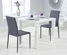 Atlanta White High Gloss Dining Table with Atlanta Stackable Chairs White Dining Set, Small Dining, Square Dining Tables, Oak Dining Table, White Kitchen Cabinet Doors, Space Saving Dining Table, Oak Furniture Superstore, Grey Table, Stackable Chairs
