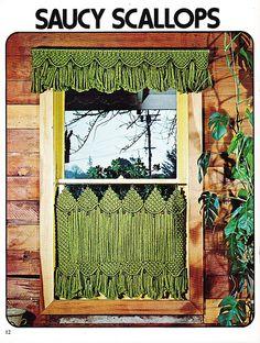 Saucy Scallops Cafe Curtain Macrame Window Dressings 1979