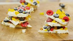 This frozen yogurt bark studded with fruit is a fun treat for kids and adults alike. Just note to eat it as soon as pieces are removed from the freezer as it melts in about 15 minutes.