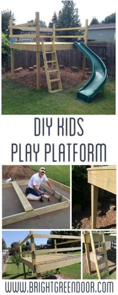# brightgreendoorcom Kid s Play Platform amp; DIY Kids Play Platform and Jumping Stumps! DIY Kids Play Platform and Jumping Stumps! Kids Outdoor Play, Outdoor Play Spaces, Kids Play Area, Backyard For Kids, Outdoor Fun, Diy For Kids, Garden Kids, Children Play, Backyard House