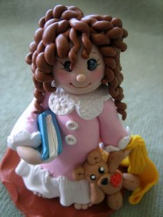 'Ready For My Bedtime Story' Polymer Clay by Trina's Clay Creations porcelana fria polymer clay pasta francesa masa flexible fimo topper modelado figurine