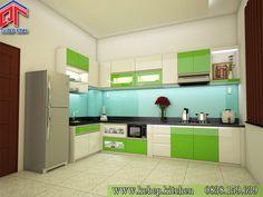 Mẫu tủ bếp gỗ nàu xanh lá cuốn hút PTL102