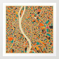 BUDAPEST MAP Art Print by Jazzberry Blue - $19.00