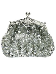 Yes I am going to classify this shiny purse in my clothing category! Glam And Glitter, Glitz And Glam, Silver Sequin, Silver Metal, Silver Wings, Beaded Purses, Vintage Purses, Fashion Accessories, Silver Accessories