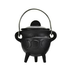 "Triple Moon cast iron cauldron w/ lid 2 3/4"""
