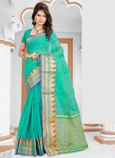Rich look attire to give you�re a right choice for any party or function. Be the sunshine of anyone��s eyes dressed with this interesting sea green cotton   casual saree. The ethnic patch border work to the attire adds a sign of elegance statement for your look. Comes with matching blouse.