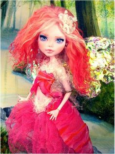 OOAK Draculaura Fairy Custom Monster High Doll Repaint Mohair Costume Wings | eBay