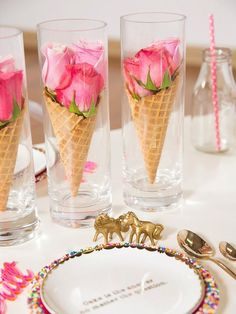 14 Lovely Centerpiece Ideas for Your Reception Table More, this one would be cute for an ice cream social! Summer Table Decorations, Decoration Table, Wedding Decorations, Centerpiece Ideas, Birthday Table Decorations, Wedding Centerpieces, Marriage Decoration, Dinner Party Decorations, Homemade Decorations