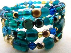 Bead Jewelry Beaded Bracelet Memory Bracelet Teal Green Blue Gold Beads. $32.00, via Etsy.
