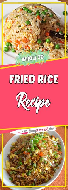 Fried Rice Recipe Via #yummymommiesnet #healthyrecipes healthy recipes #recipes recipes #sundaysupper sunday supper ideas #comfortfood comfort food recipes #paleo paleo #glutenfree gluten free recipes