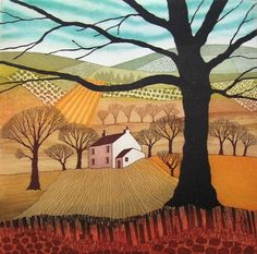 Safely Gathered In etching mounted by Northumberland artist Rebecca Vincent. Winter trees with patchwork fields