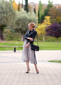 Nasty Gal jacket | Asos dress | The Row sweater | Gianvito Rossi shoesChanel 'Boy' bag | Zara sunglasses | Dior earrings