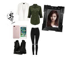 """Clover Military Denim Shirt"" by miniminie-929 ❤ liked on Polyvore featuring River Island, Topshop, Capezio and Linda Horn"