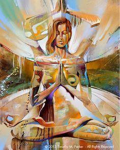 "Figure Art Painting - Artist Tim Parker ""Glowing Soul"" Abstract Figurative Artwork Print"