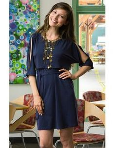Milk Nursingwear Navy Blue Split sleeve nursing dress - milk & baby