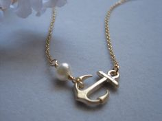 Sideway Anchor, Gold anchor, Anchor and Freshwater Pearl, Simple Everyday necklace, Birthday gift, Beach,. $20.00, via Etsy.