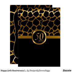 Happy 50th Anniversary | Giraffe Pattern Invitation