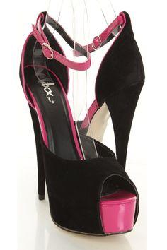 Black Faux Suede Patent Ankle Strap Peep Toe Platform Heels http://www.amiclubwear.com/shoes-heels-pf-marilyn-05blacksu.html#