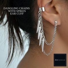 TEFC Dangling Chains with Spikes Ear Cuff | Use this exclusive code: PINTEREST05 for 5% off all fashion products @ theelitefashionclub.storenvy.com