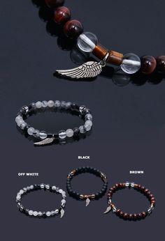 Accessories :: Bracelets :: Gemstone Angel Wing Charm Beads -Bracelet 257 - Mens Fashion Clothing For An Attractive Guy Look