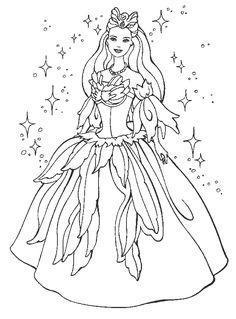 princess dress coloring pages princess barbie coloring pages