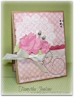 Card created by Tamytha Jenkins of www.paperheartist.com for the March Close To My Heart Stamp of the Month Blog Hop.  Uses Floral Happiness and Love Doily Stamp Sets, plus Chantilly paper.