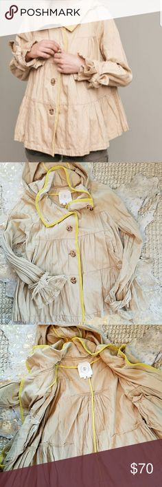 Anthropologie Lemon Lined Trench Coat Size Medium Great coat with gorgeous buttons!! IMO this jacket runs slightly large. Worn once but I must have rubbed the sleeve against something, it has some tiny picks on the inside of one sleeve, see last two pictures. Great condition aside from the picks. Anthropologie Jackets & Coats