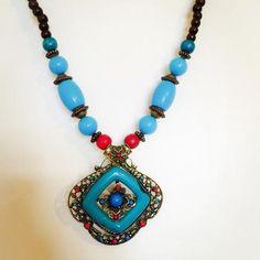Aqua Blue Tribal Necklace