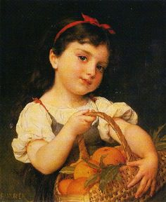 Emile Munier (1840 – 1895, French) - Young Girl With A Basket Of Oranges