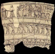 The Uruk Vase showing worshippers bringing provisions to the temple of Inanna.  [The vase was stolen from the Iraq Museum in 2003, but has since been returned and partially restored.]  Uruk ca. 3000 BC