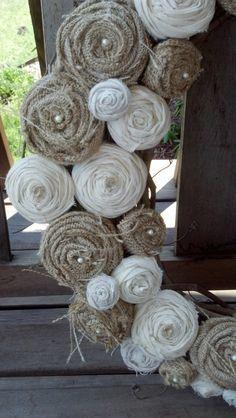 burlap and muslin flowers. $20.00, via Etsy.