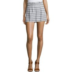 Veronica Beard Wynwood Striped High-Waist Shorts ($370) ❤ liked on Polyvore featuring shorts, stripe shorts, high-waisted shorts, relaxed fit shorts, ruffle shorts and relaxed shorts