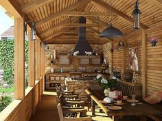 Summer interior design ideas inside the house Outdoor Rooms, Outdoor Living, Vie Simple, Wooden Room, Ski Chalet, Summer Kitchen, Rustic Bathrooms, Wood Interiors, Beautiful Living Rooms