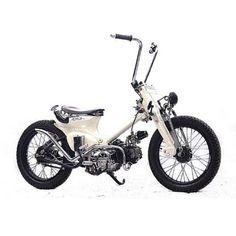 Custom Moped, Custom Bikes, Honda Motorbikes, Honda Cub, Motorized Bicycle, Bobber Chopper, Moto Bike, Cars And Motorcycles, Vintage Cars